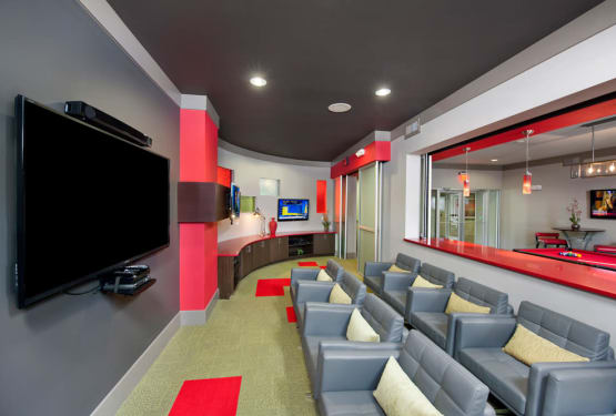 Resident movie theater at Perimeter Lofts in Charlotte, North Carolina