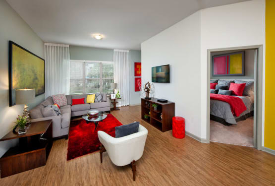 Spacious living area at Celsius in Charlotte, North Carolina