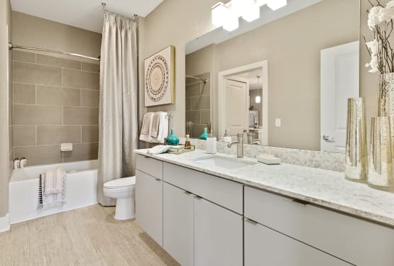 Spacious, modern bathroom at Steele Creek in Jacksonville, Florida