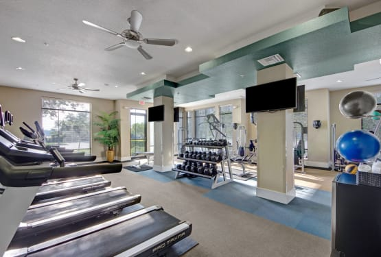 Fitness center at The Courtney at Lake Shadow in Orlando, Florida