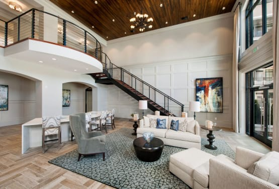 Lavishly furnished and welcoming lobby interior at The Heights at Sugarloaf in Duluth, Georgia