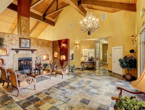 Warm, rustic front lobby at Capitol Place Apartments in West Sacramento, California