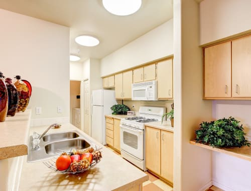 Kitchen with plenty of counterspace at Capitol Place Apartments in West Sacramento, California