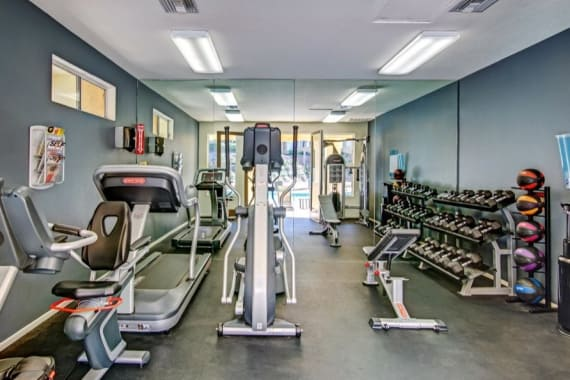 Beautiful fitness center at apartments in San Diego, CA