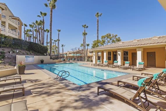 Beautiful swimming pool at apartments in San Diego, CA