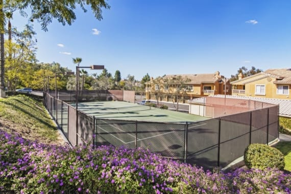 Beautiful tennis court at Sofi Canyon Hills in San Diego, CA