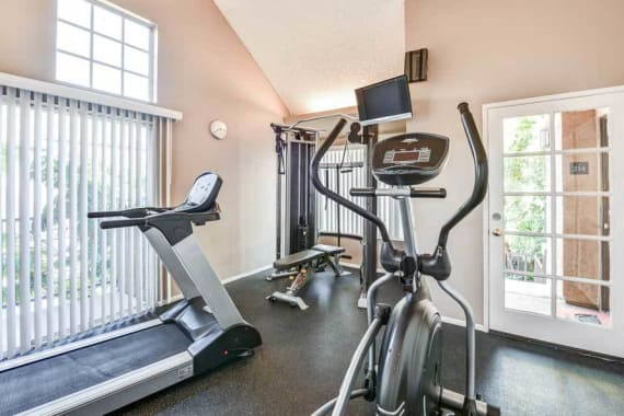Beautiful fitness center at Waterstone Media Center in Burbank, CA