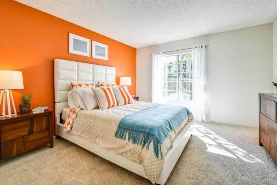 Beautiful bedroom at Waterstone Media Center in Burbank, CA