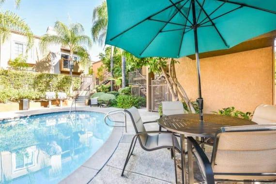 Swimming pool at apartments in Burbank, CA