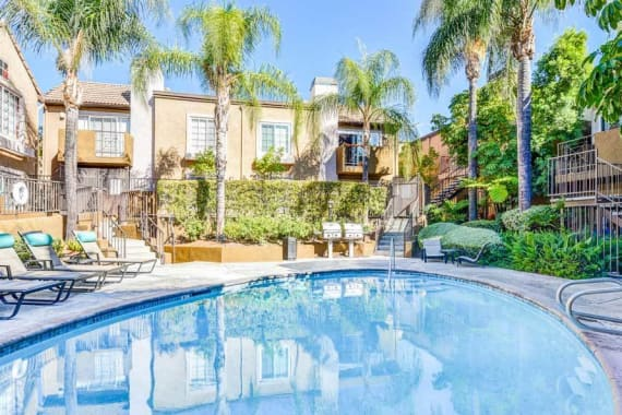 A swimming pool that is great for entertaining at apartments in Burbank, CA