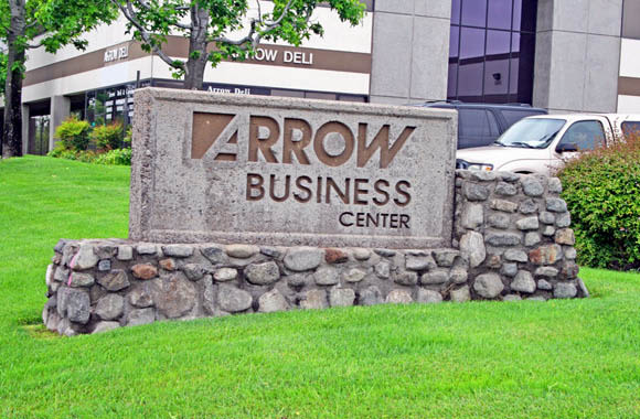 Monument sign at Arrow Business Center in Rancho Cucamonga, California