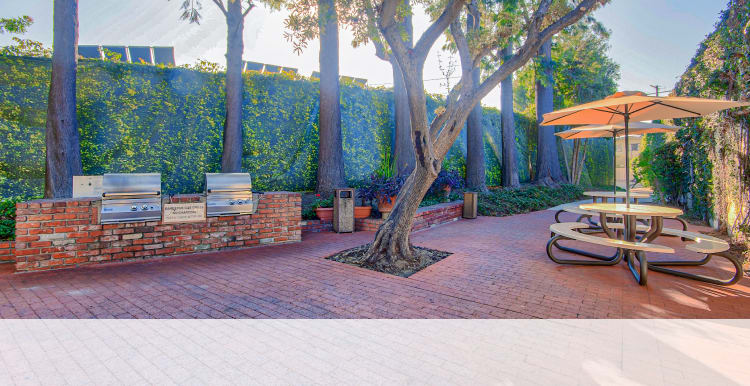 Lush courtyards at Villa Vicente in Los Angeles, California