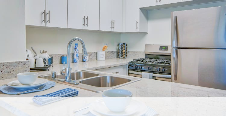 Fully equipped kitchens at Villa Vicente in Los Angeles, California