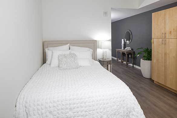Wonderful guest bedroom at Montessa in Portland, Oregon