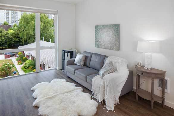 Savvy living room at Montessa in Portland, Oregon