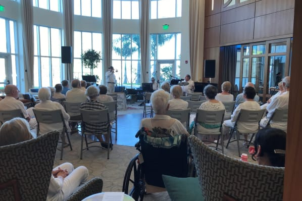Residents gather to eat at All Seasons Naples in Naples, Florida