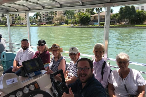 Residents from All Seasons Naples enjoying the dolphin tour in Naples, Florida