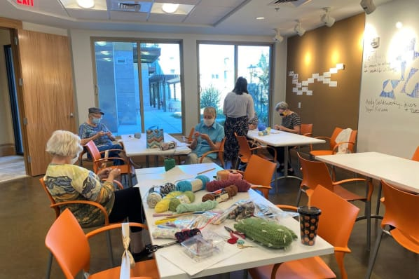 Residents Learning the Art of Crochet