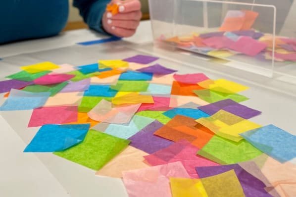 'Art for Everyone'; Creation of Tissue Paper Tapestries in the Art Studio