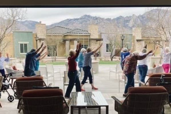 Monday's Yoga Class in the Courtyard