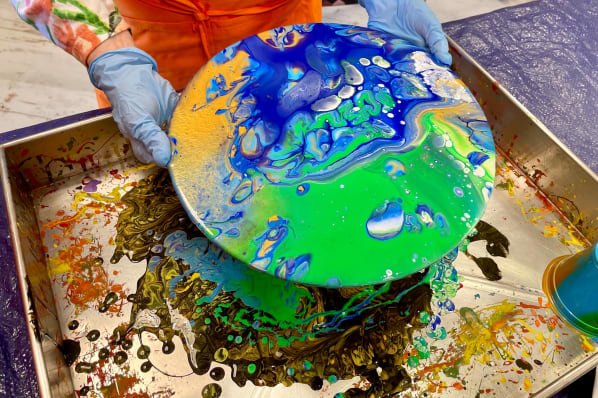 Art and Crafts Class; Pour Painting in the Art Studio