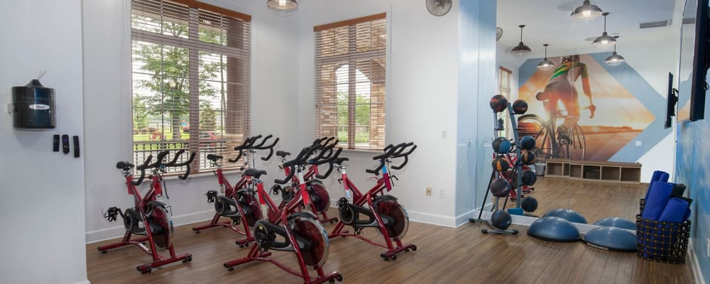 Fitness bikes at Panther Effingham Parc Apartments in Rincon, Georgia