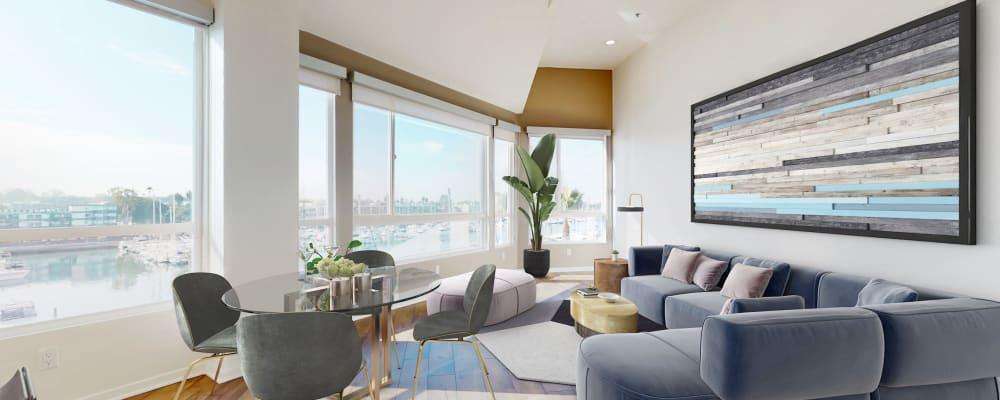 Spacious living room with marina views at Esprit Marina del Rey in Marina del Rey, California