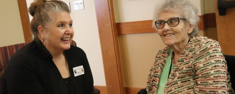 Resident and caregiver at The Springs at Mill Creek in The Dalles, Oregon