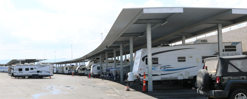 Covered RV and boat parking at Best Storage in Henderson