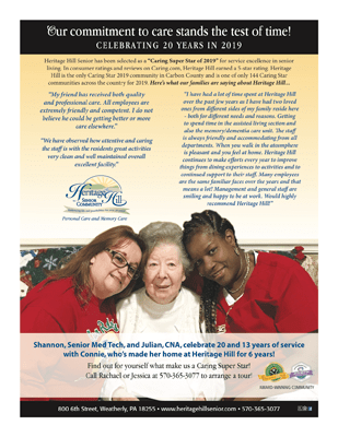 Heritage Hill Senior Community's 20th Anniversary Flyer