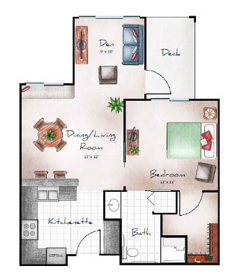 Independent Living one bedroom with den at Orchard Pointe at Terrazza