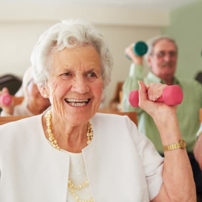 Senior woman exercising at The Glenn Hopkins