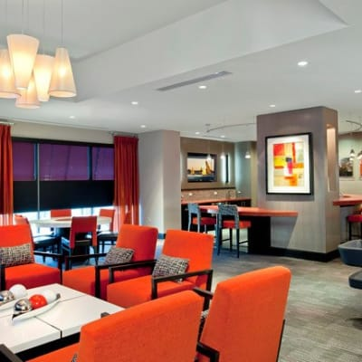 Bright furnished clubhouse area at The Galaxy in Silver Spring, Maryland
