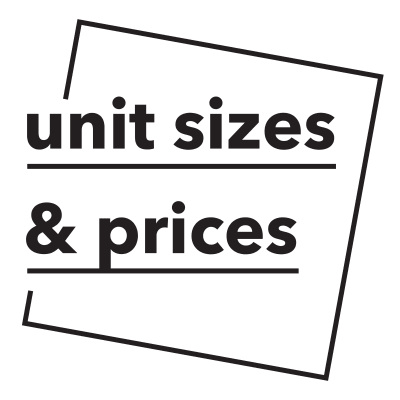 Unit sizes and prices callout at My Self Storage Space in Orange, California