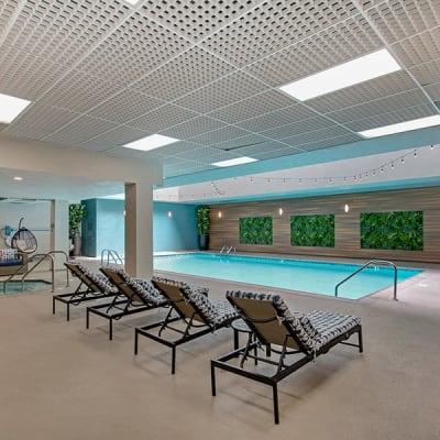 Luxurious indoor swimming pool at Vue Los Feliz in Los Angeles, California