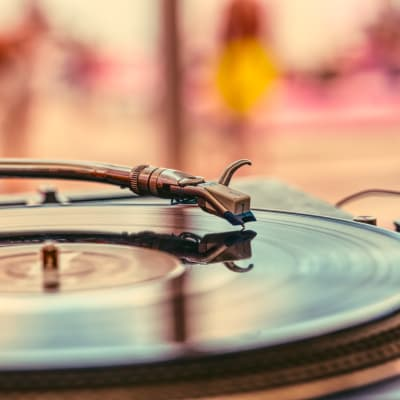 Turntable spinning residents' favorite tunes at Sofi Warner Center in Woodland Hills, California