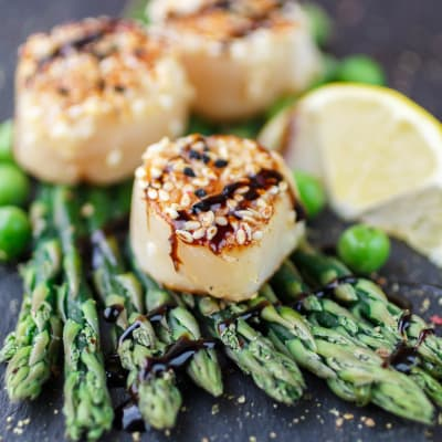 Beautifully presented scallops and asparagus dish prepared at a restaurant near Mia in Palo Alto, California