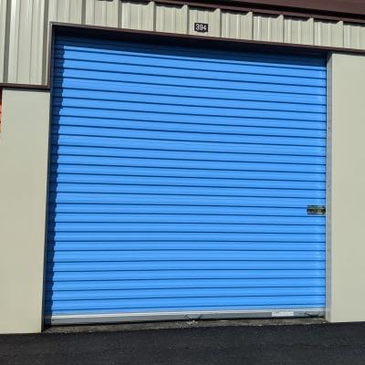 A blue storage unit door at Battle Ground Mini Storage in Battle Ground, Washington