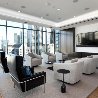 Media room at Residences at 8 East Huron in Chicago, Illinois