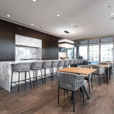 Community room at Residences at 8 East Huron in Chicago, Illinois