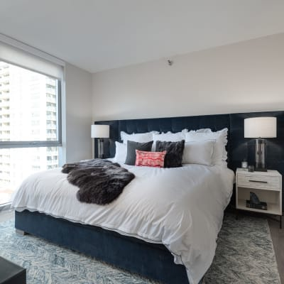 Bright bedroom at Residences at 8 East Huron in Chicago, Illinois