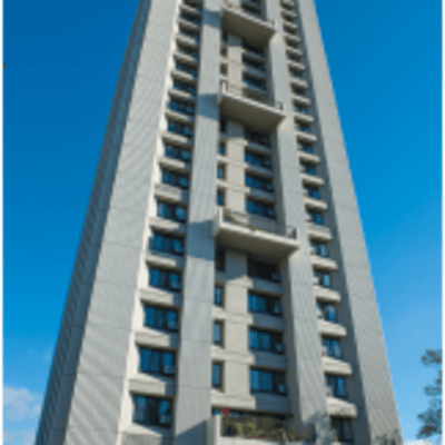 View of the tall Ebenezer Apartments Tower