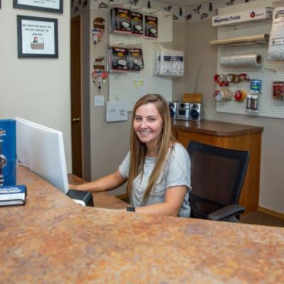 Front office desk of Battle Ground Mini Storage in Battle Ground, Washington