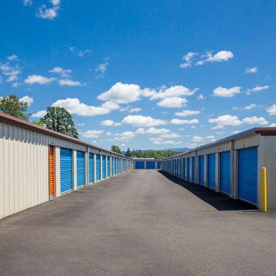 Outside drive up storage units at Battle Ground Mini Storage in Battle Ground, Washington