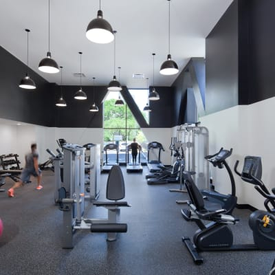 Fully equipped fitness center for residents at The Buckler in Milwaukee, Wisconsin
