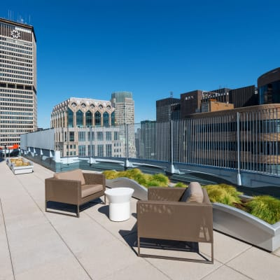 A large rooftop patio with comfortable seating at The Metropolis in New York, New York