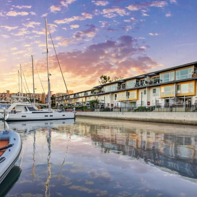 Dusk over the harbor at our waterfront communities at The Tides at Marina Harbor in Marina Del Rey, California