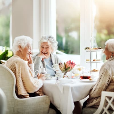 Residents sitting in a sunlit cafe eating breakfast at Deer Crest Senior Living in Red Wing, Minnesota