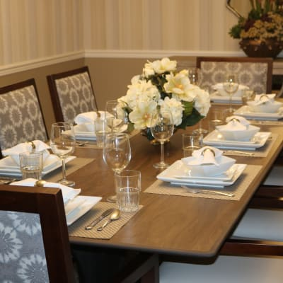 Elegant restaurant-style place settings at The Sanctuary at Brooklyn Center in Brooklyn Center, Minnesota