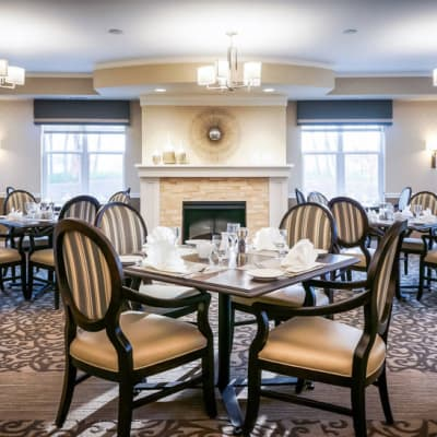 Elegant restaurant-style dining room at The Sanctuary at West St. Paul in West St. Paul, Minnesota